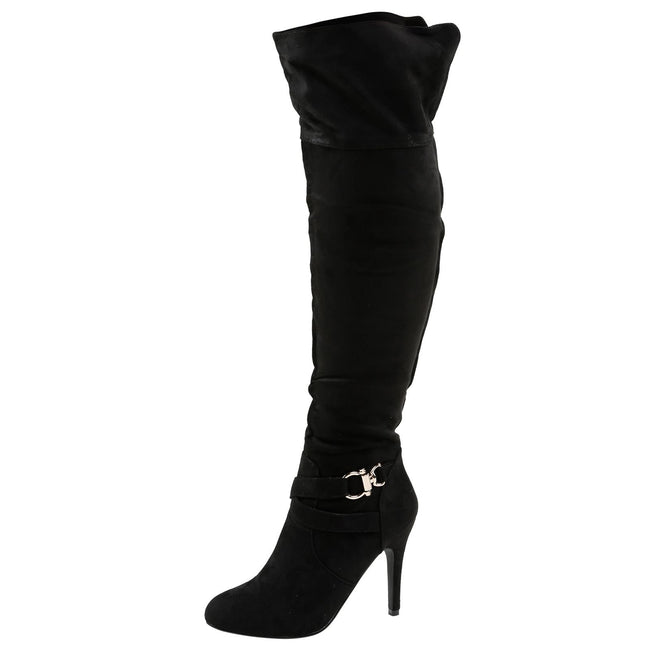 Hope Stiletto Fold Down Boots in Black Faux Suede