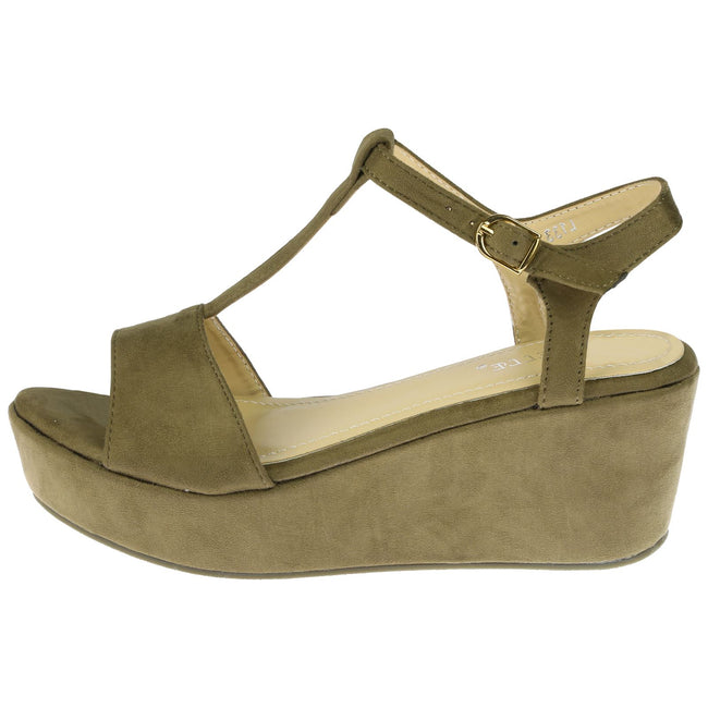 Moana Wedge Heel T Bar Sandals in Green Faux Suede