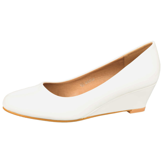 Wendy Low Wedge Court Shoes in White Patent