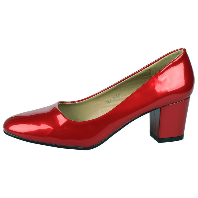 Yvonne Classic Block Heel Court Shoes in Red Patent