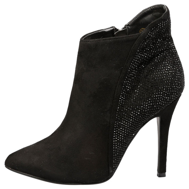Tristana Diamante Stiletto Heel Ankle Boots in Black Faux Suede