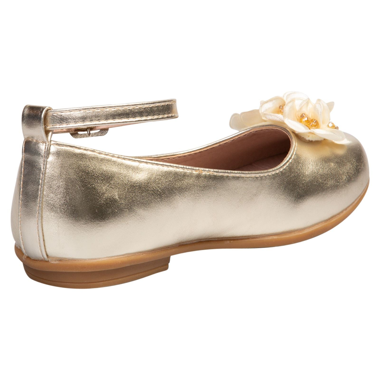 Nellie Girls Floral Ballerinas in Gold Faux Leather - Feet First Fashion