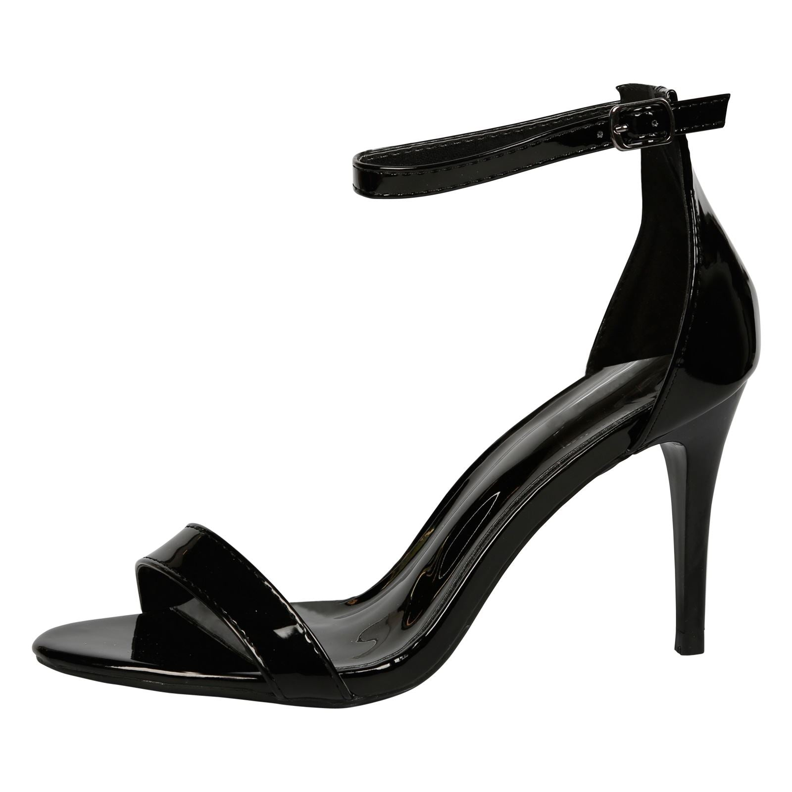 Ellen Stiletto Heel Ankle Strap Sandals in Black Patent