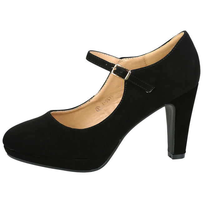 Emmeline Platform Mary Janes in Black Faux Suede