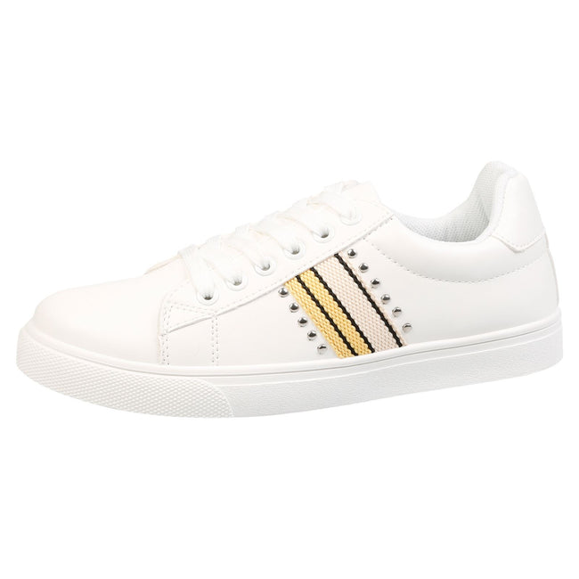 Verity Leather Look Stripe Trainers in White & Yellow