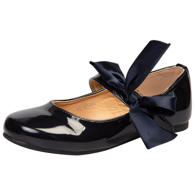 Zaniyah Girls Bow Detail Mary Janes in Navy Patent - Feet First Fashion