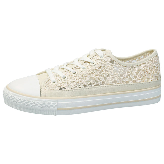 Sherilyn Floral Mesh Skater Trainers in Beige