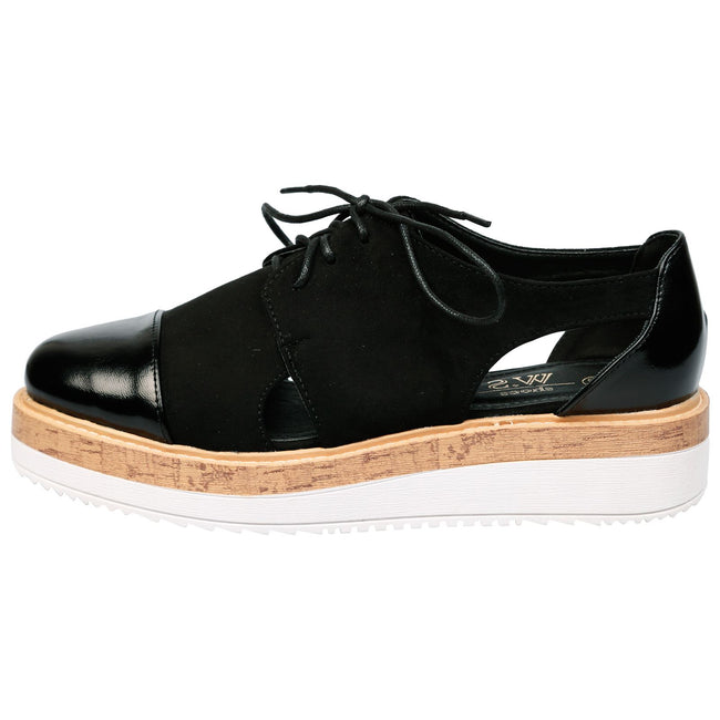 Loretta Cut Out Flatform Brogues in Black Faux Suede
