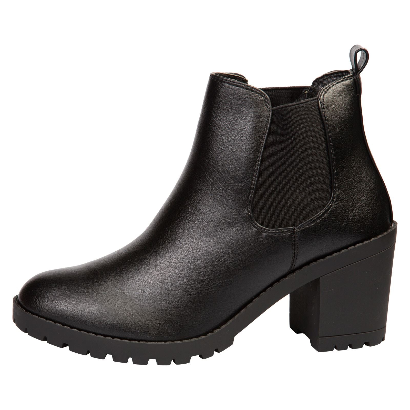 Amaya Block Heel Chelsea Boots in Black Faux Leather - Feet First Fashion