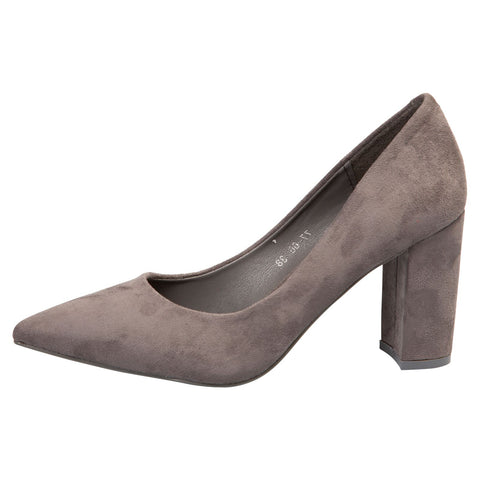 Annalise Ankle Cuff Low Heel Shoes in Beige Faux Suede