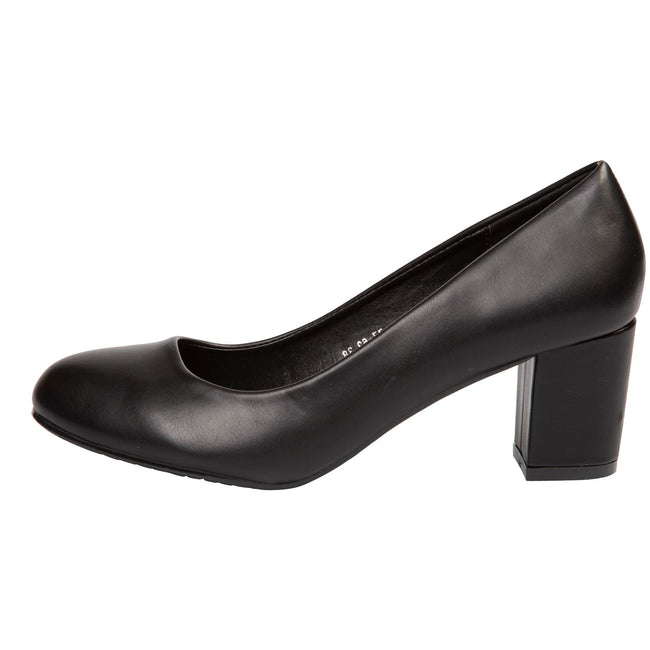 Mika Block Heel Court Shoes in Black Faux Leather - Feet First Fashion