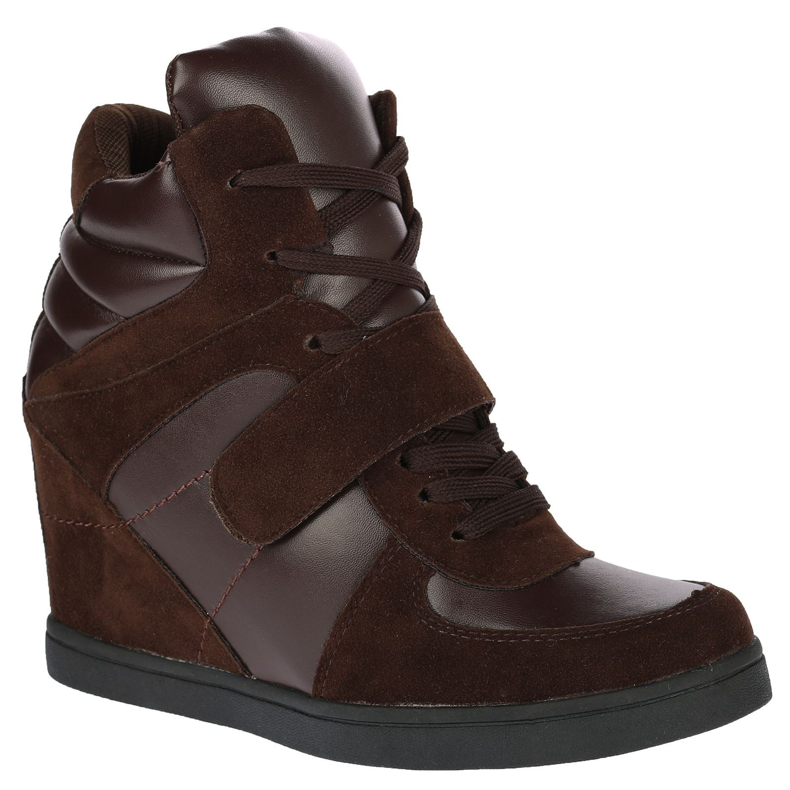Becky Hidden Wedge Lace Up Trainers in Brown