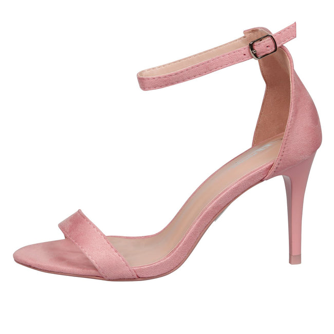 Ellen Stiletto Heel Ankle Strap Sandals in Pink Faux Suede
