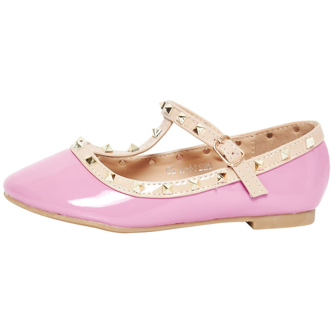 Marleigh Girls Studded T-Strap Flat Shoes in Pink Patent - Feet First Fashion