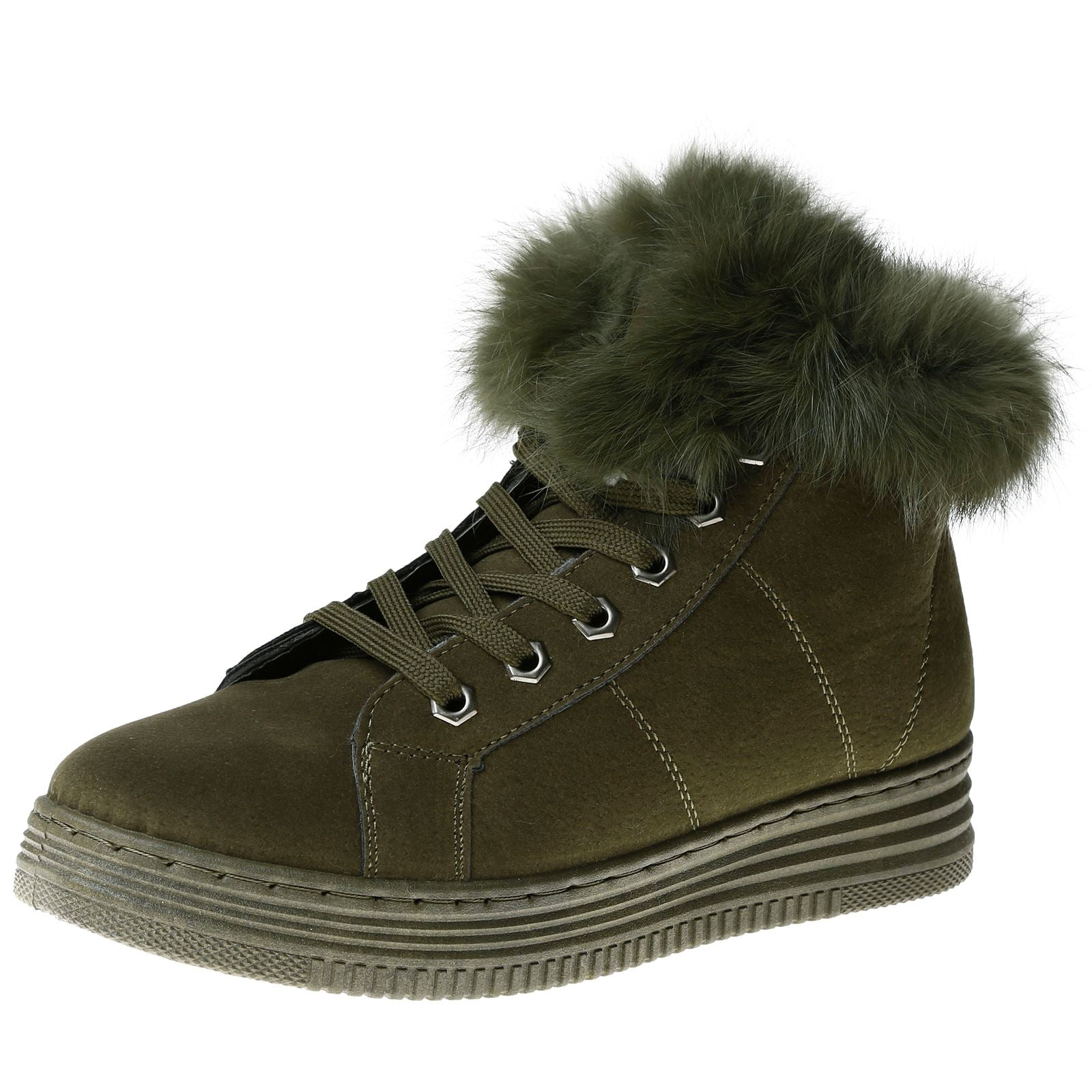 Jaina Fur Lined High Top Trainers in Olive Green Faux Suede