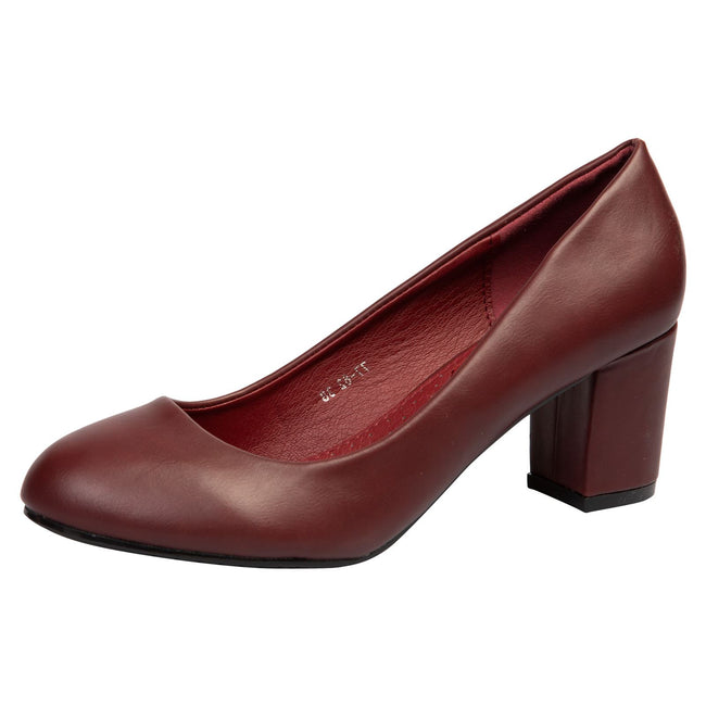 Mika Block Heel Court Shoes in Wine Red Faux Leather