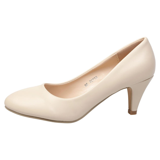 Leona Mid Heel Court Shoes in Beige Faux Leather