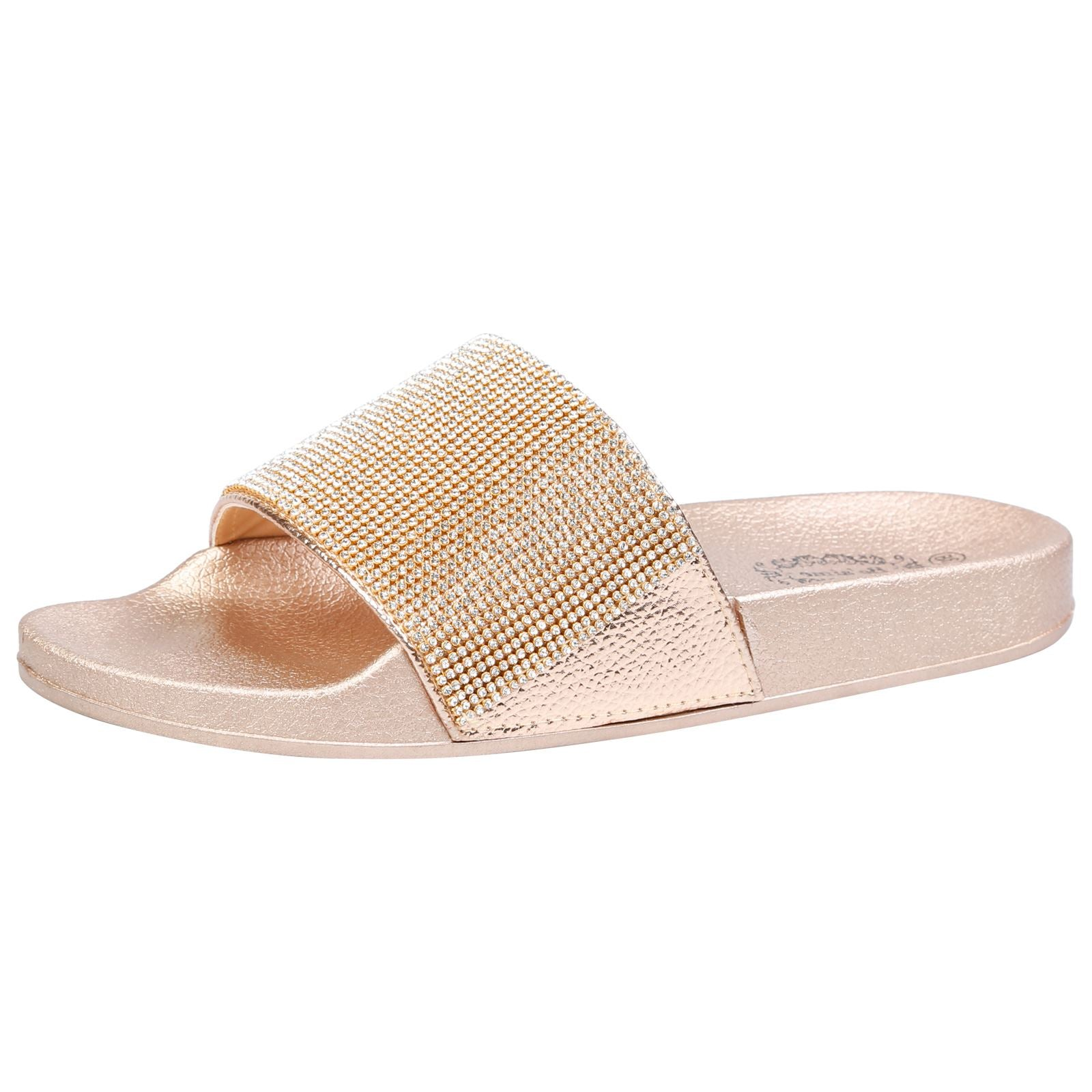 Dionne Diamante Sliders in Rose Gold