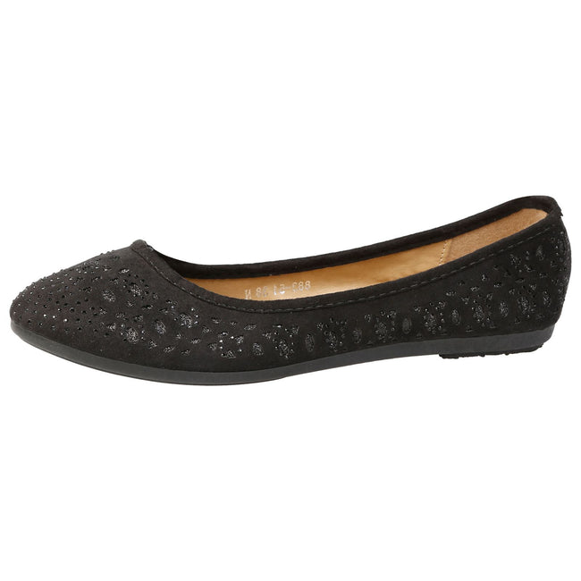 Kells Glitter Cut Out Ballerina Flats in Black Faux Suede