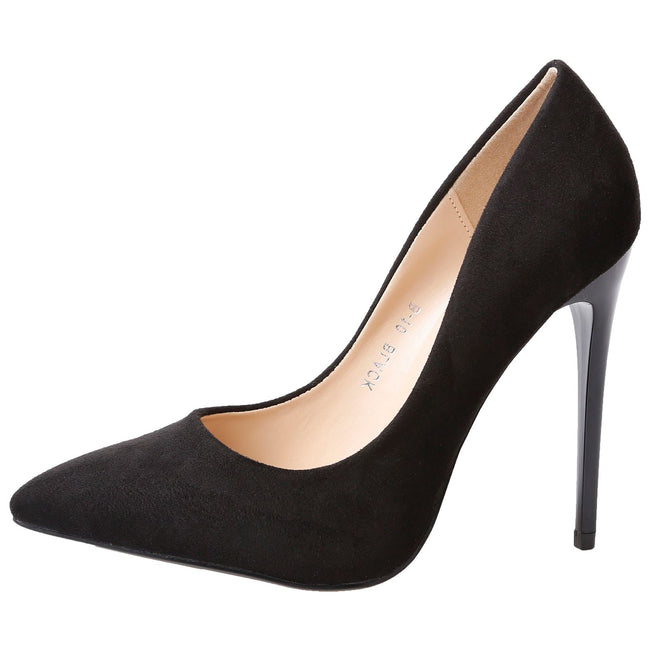 Danita Stiletto Heel Court Shoes in Black Faux Suede