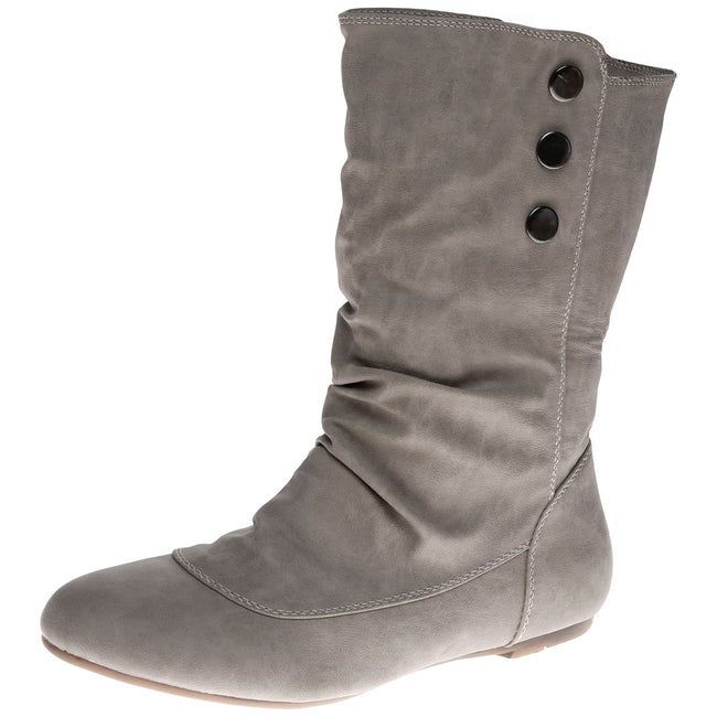 Eileen Flat Mid Calf Boots in Grey Faux Leather