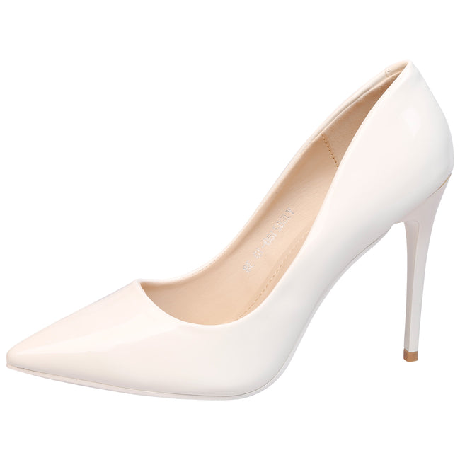 Danita Stiletto Heel Court Shoes in White Patent - Feet First Fashion