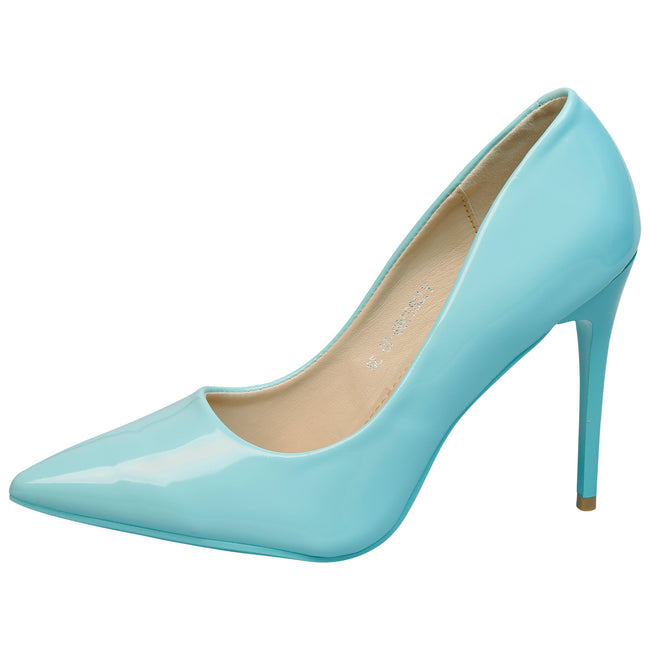 Danita Stiletto Heel Court Shoes in Blue Patent - Feet First Fashion
