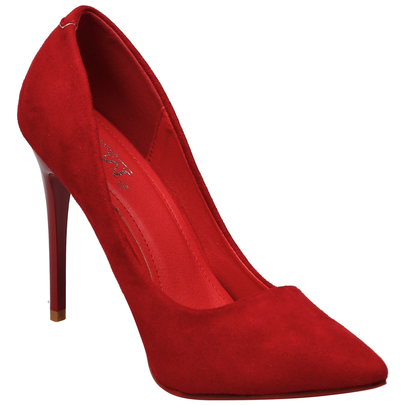 Danita Stiletto Heel Court Shoes in Red Faux Suede - Feet First Fashion