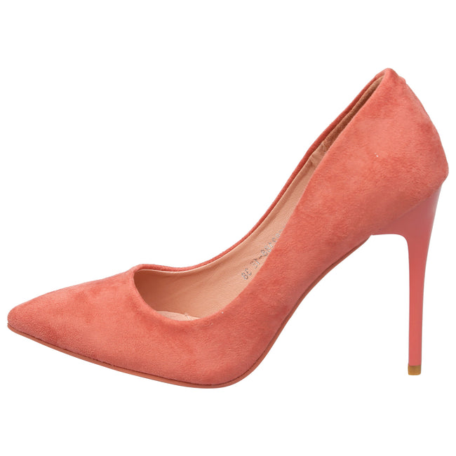 Danita Stiletto Heel Court Shoes in Dark Pink Faux Suede