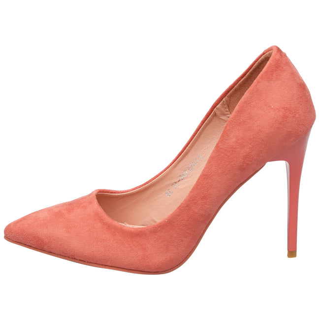Danita Stiletto Heel Court Shoes in Dark Pink Faux Suede - Feet First Fashion