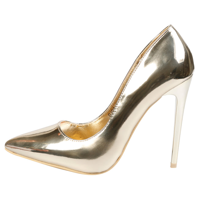 Danita Stiletto Heel Court Shoes in Gold Metallic