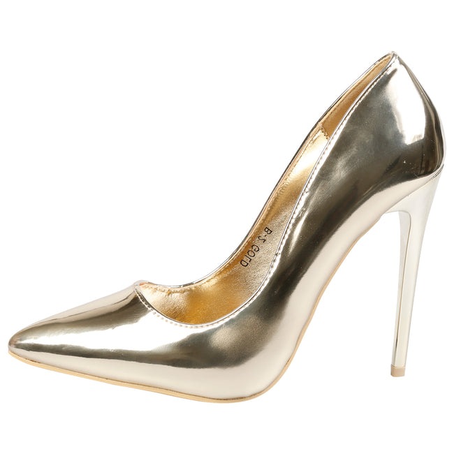 Danita Stiletto Heel Court Shoes in Gold Metallic - Feet First Fashion