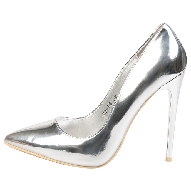 Danita Stiletto Heel Court Shoes in Silver Metallic - Feet First Fashion