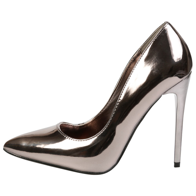 Danita Stiletto Heel Court Shoes in Gun Metal Metallic - Feet First Fashion