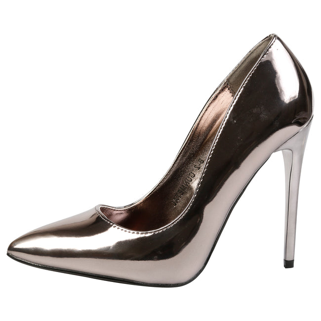 Danita Stiletto Heel Court Shoes in Gun Metal Metallic