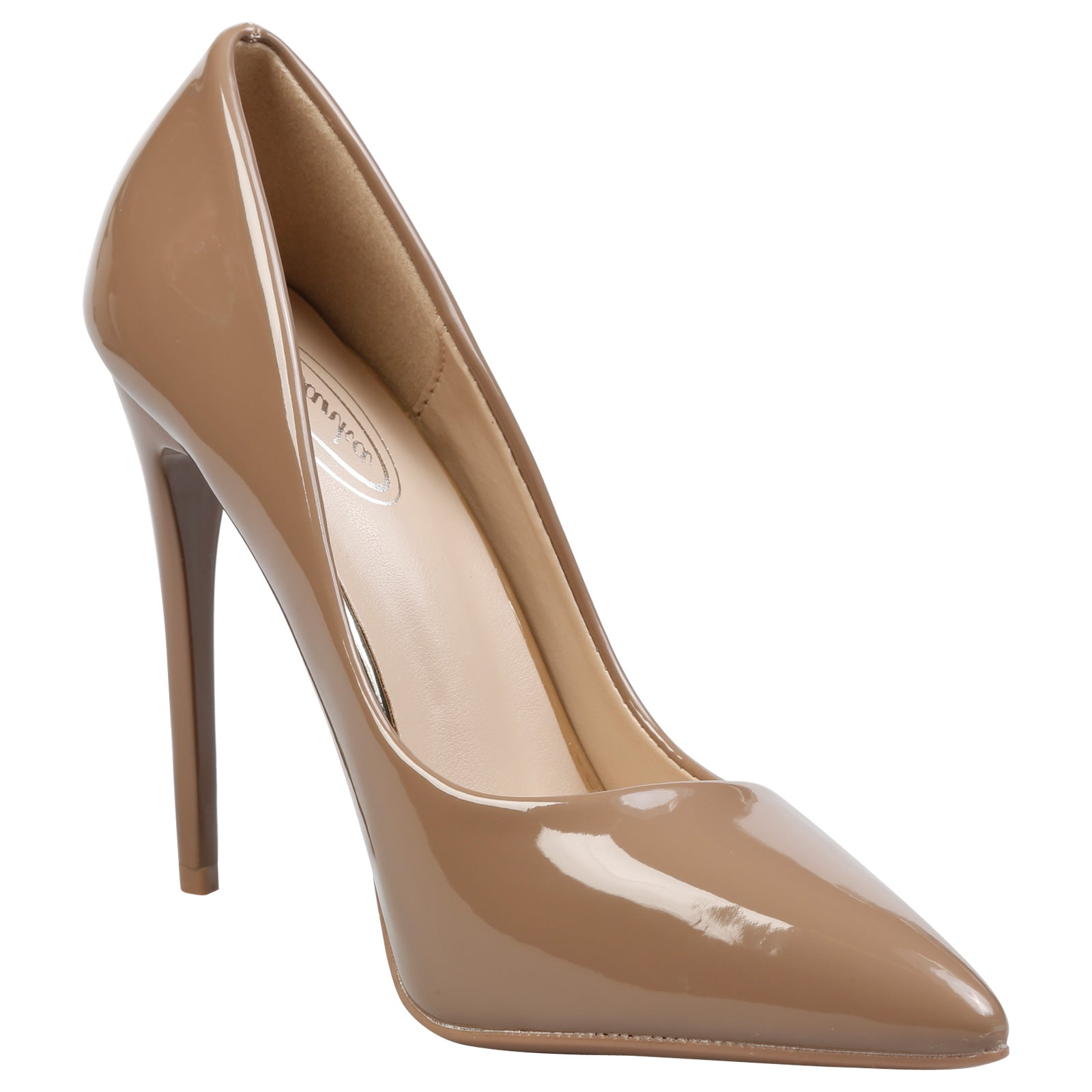 Danita Stiletto Heel Court Shoes in Tan Patent - Feet First Fashion