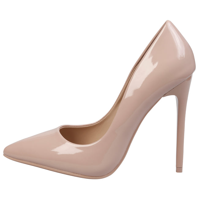 Danita Stiletto Heel Court Shoes in Nude Patent - Feet First Fashion