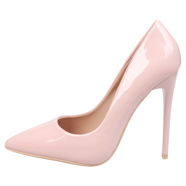 Danita Stiletto Heel Court Shoes in Pink Patent