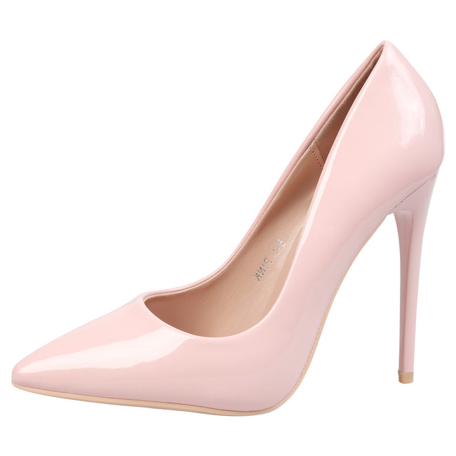 Danita Stiletto Heel Court Shoes in Pink Patent - Feet First Fashion