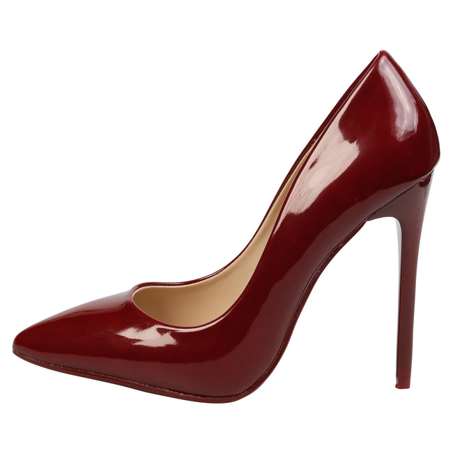 Danita Stiletto Heel Court Shoes in Wine Patent