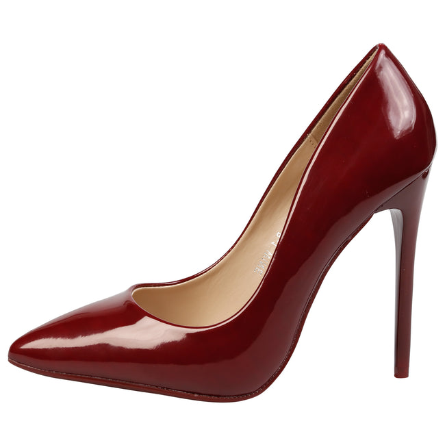 Danita Stiletto Heel Court Shoes in Wine Patent - Feet First Fashion