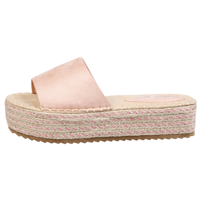 Luna Flatform Espadrille Sliders in Pink Faux Suede - Feet First Fashion