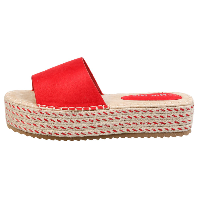 Luna Flatform Espadrille Sliders in Red Faux Suede - Feet First Fashion