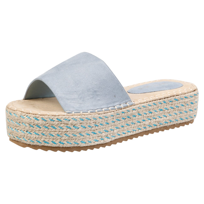 Luna Flatform Espadrille Sliders in Blue Faux Suede - Feet First Fashion