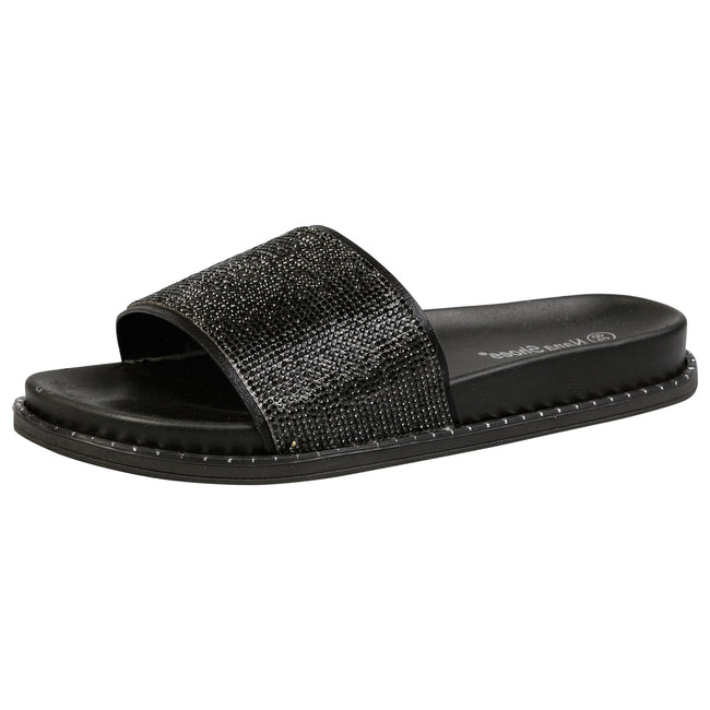Wanda Diamante Sliders in Black - Feet First Fashion