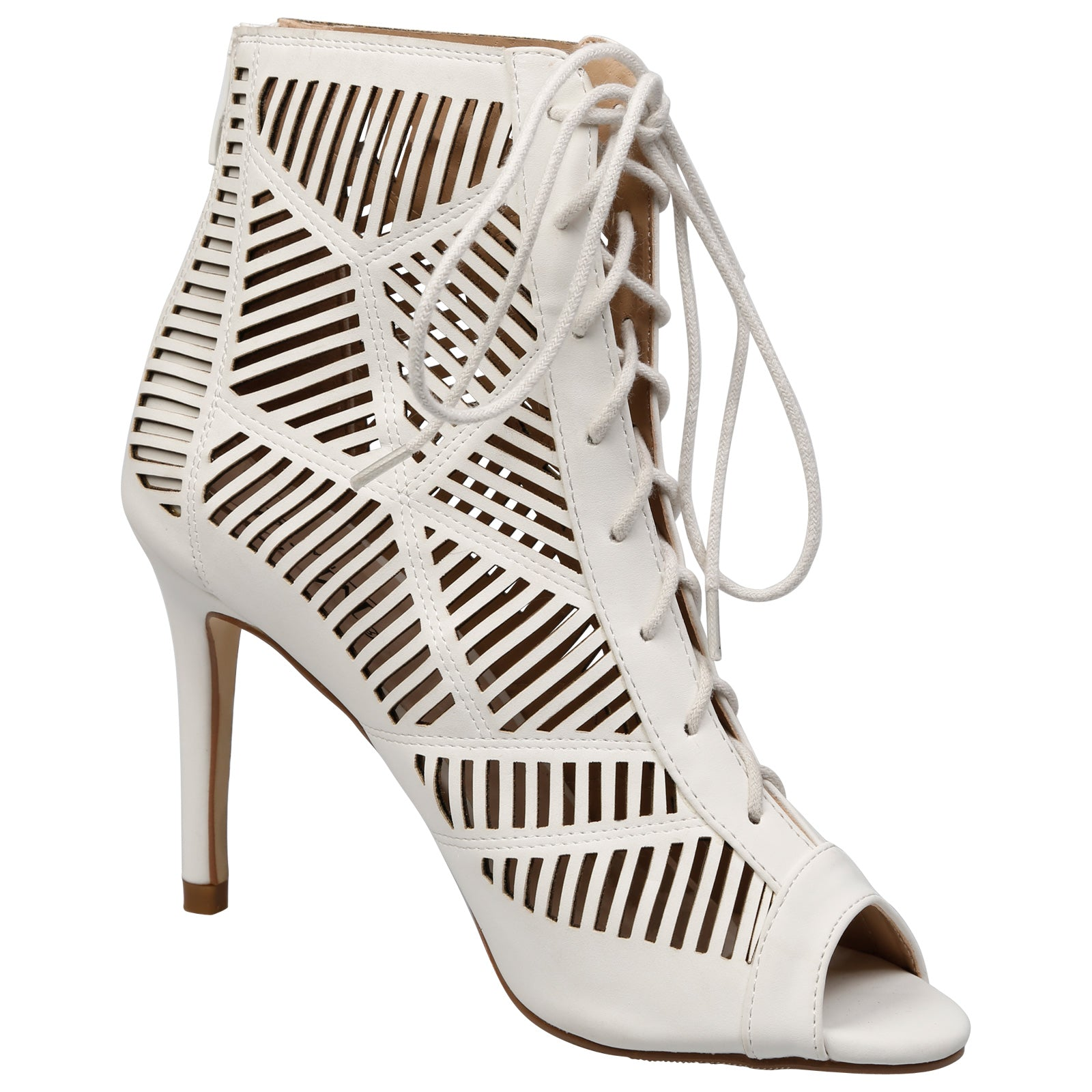 Anais Geometric Cut Out Ankle Boots in White - Feet First Fashion