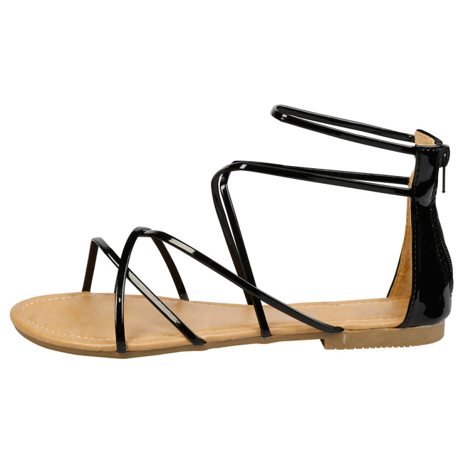 Anna Strappy Gladiator Sandals in Black Patent - Feet First Fashion