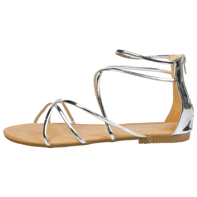 Anna Strappy Gladiator Sandals in Silver - Feet First Fashion