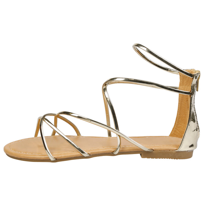 Anna Strappy Gladiator Sandals in Gold - Feet First Fashion