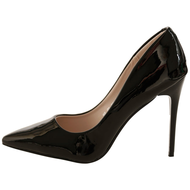 Danita Stiletto Heel Court Shoes in Black Patent - Feet First Fashion